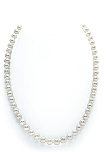 """14K Gold 5.0-5.5mm White Freshwater Cultured Pearl Necklace - AAAA Quality, 20"""" Matinee Len..."""