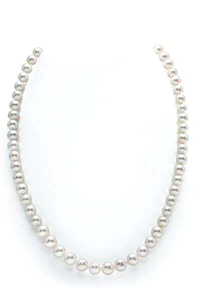 7.5-8mm White Freshwater Cultured Pearl Necklace, 24 Inch Matinee Length
