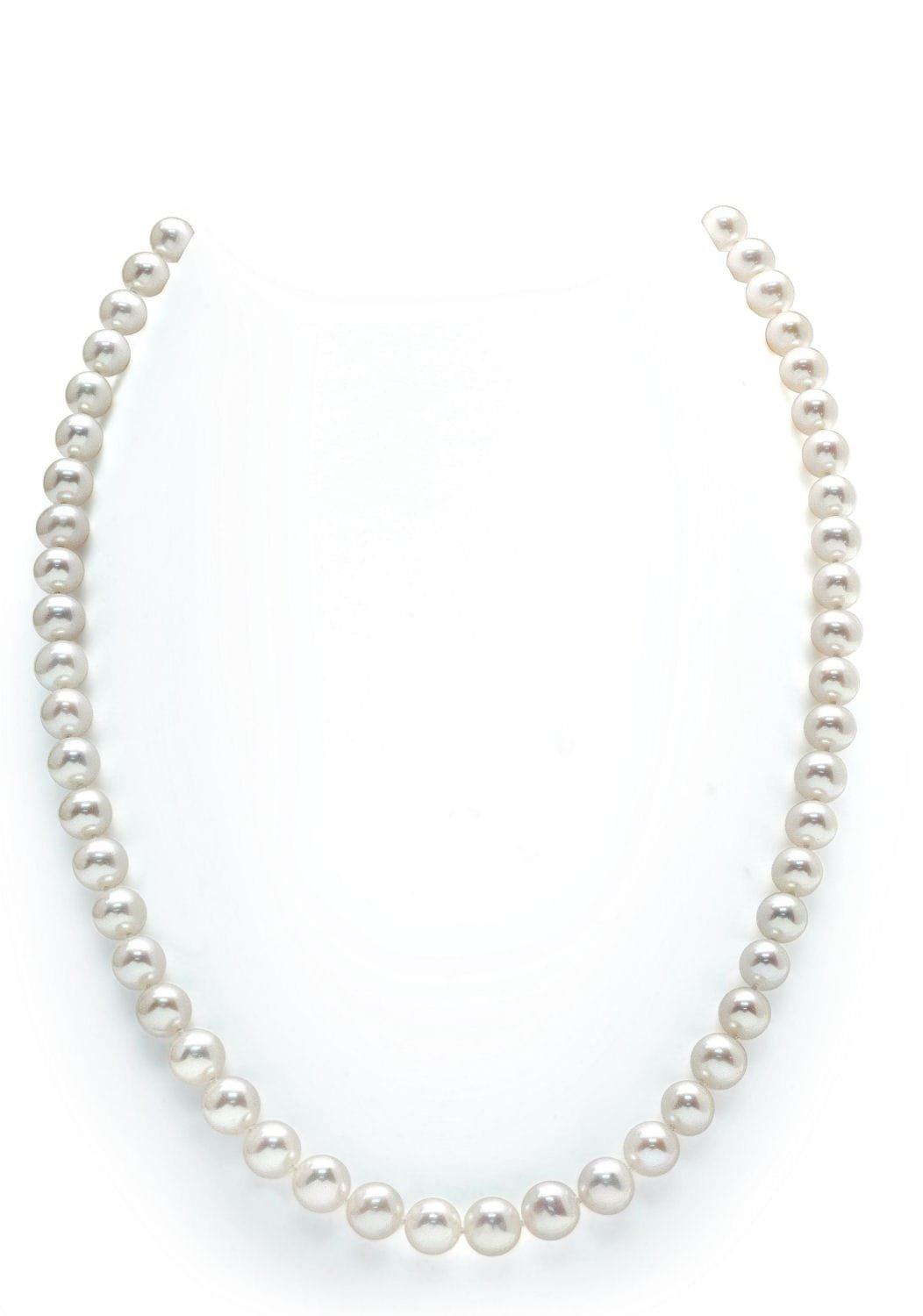 14K Gold White Freshwater Cultured Pearl Necklace - AAAA Quality, 20'' Matinee Length
