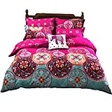 LAMEJOR Duvet Cover Set Queen Size Bohemia Exotic Pattern Luxury Soft Bedding Set Comforter Cover (1 Duvet Cover+2 Pillowcases) Fuchsia Pink/Turquoise Blue