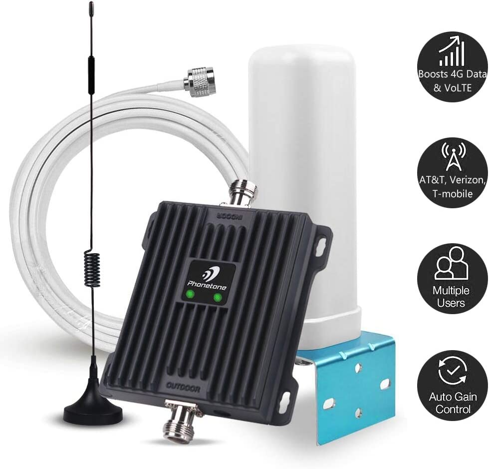 Cell Phone Signal Booster for Home and Office - 65dB Dual Band 700MHz Cell Phone Repeater Boost 4G LTE Voice and Data for AT&T, Verizon and T-Mobile - Support All Cellulars on Band 12/17/13