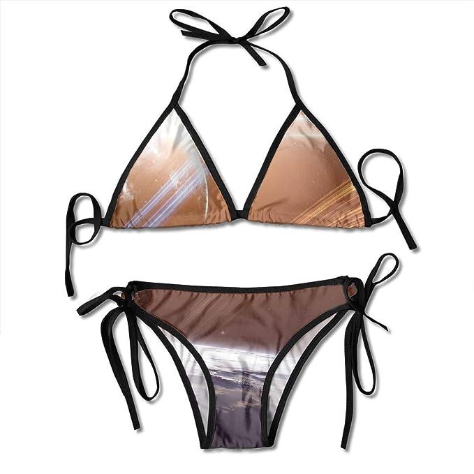 Planetas Naves espaciales Bikini Sexy para Mujer Traje de baño Traje de baño Triángulo Traje de baño Trajes de Dos Piezas: Amazon.es: Ropa y accesorios