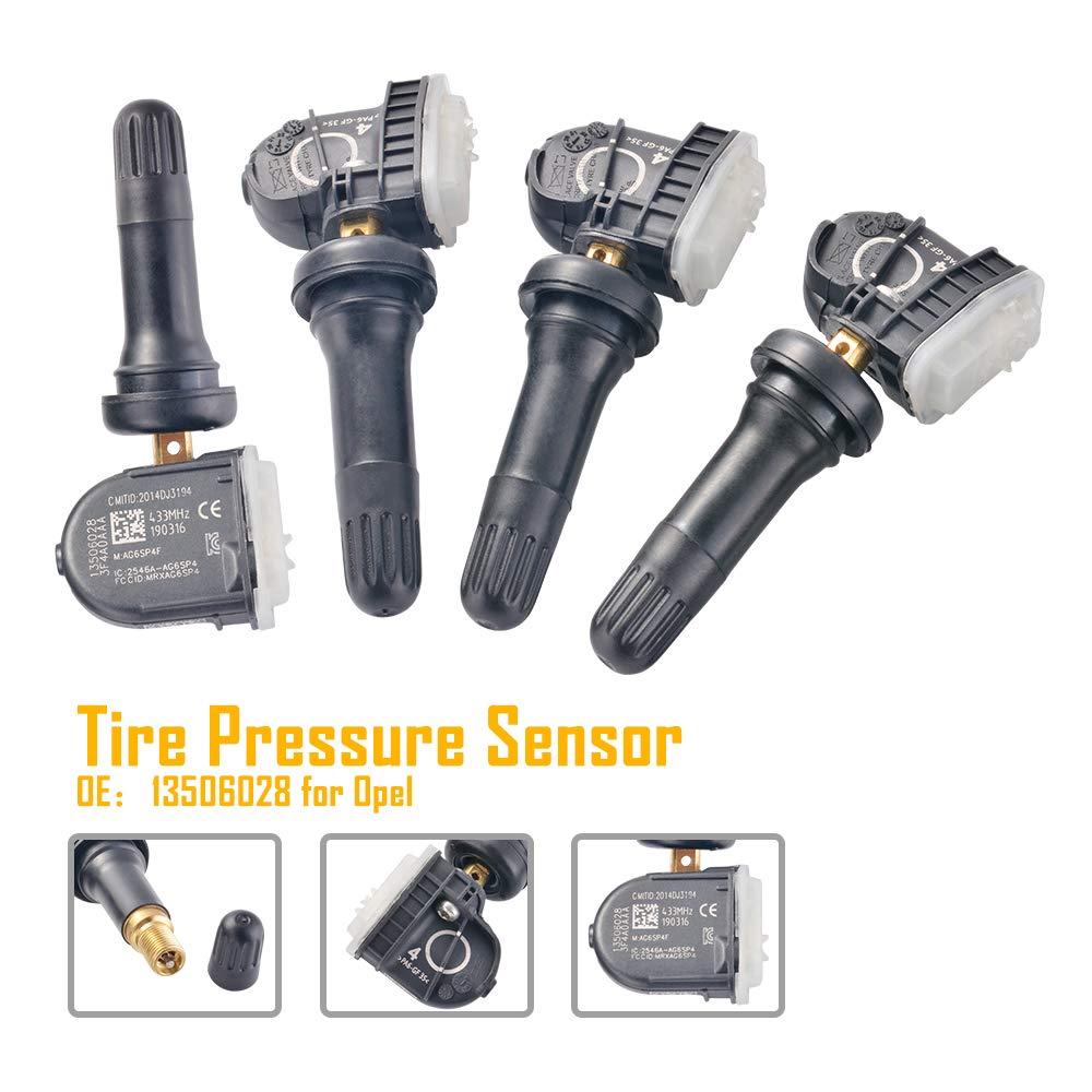 TPMS Sensor de Presión de Neumáticos Válvula de Reemplazo Kit DE SERVICIO Vauxhall Corsa D Mokka
