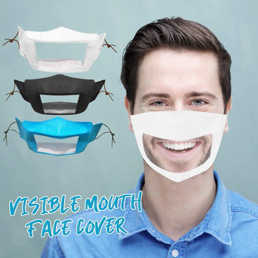Reusable Face Bandanas for The Deaf and Hard of Hearing with Clear Window Visible Expression Mouth Covering, Solve Communication Barriers Washable Face Protection