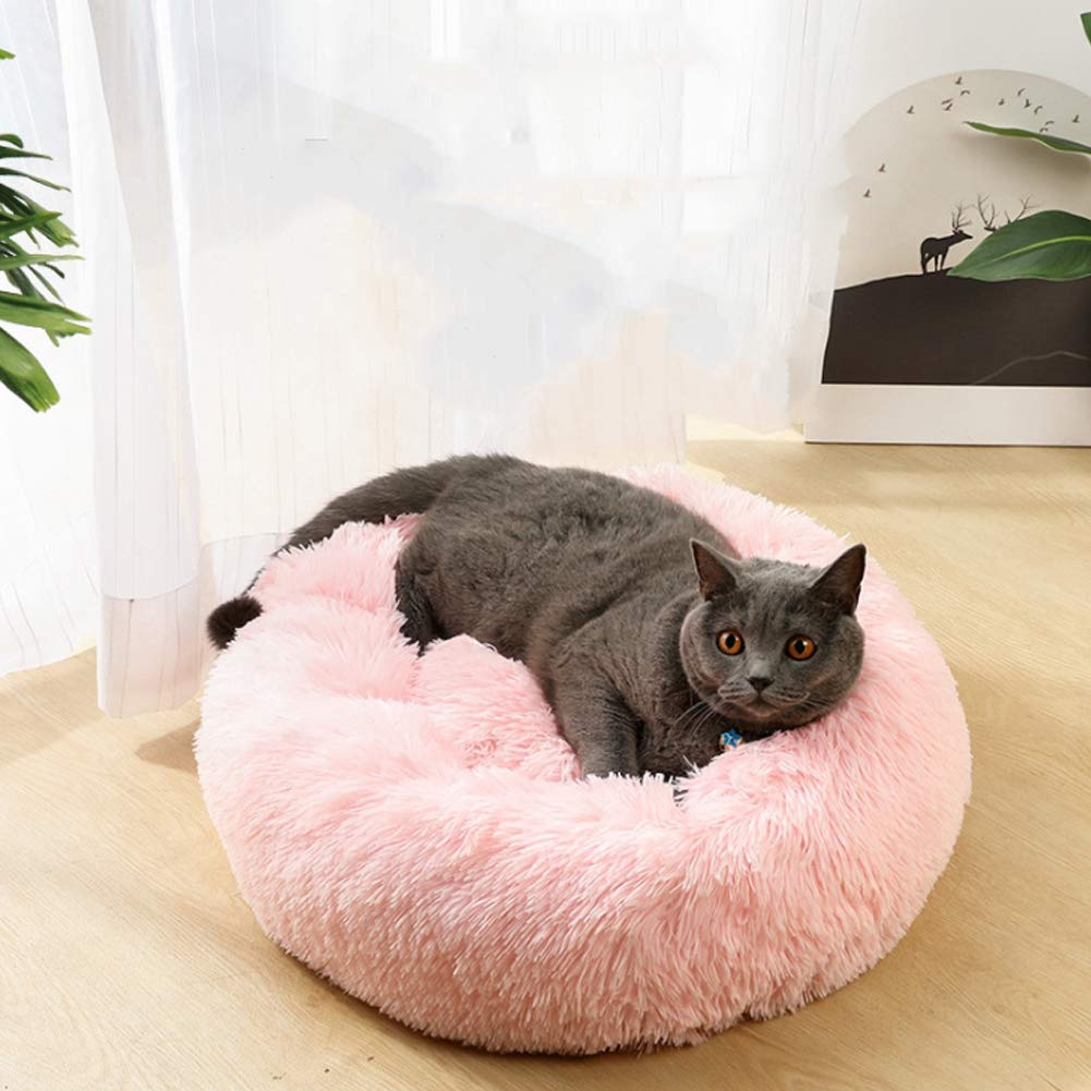 80cm, Blue Enjoyfeel Donut Cat Bed Faux Fur Dog Beds for Medium Small Dogs Self Warming Indoor Round Pillow Cuddler