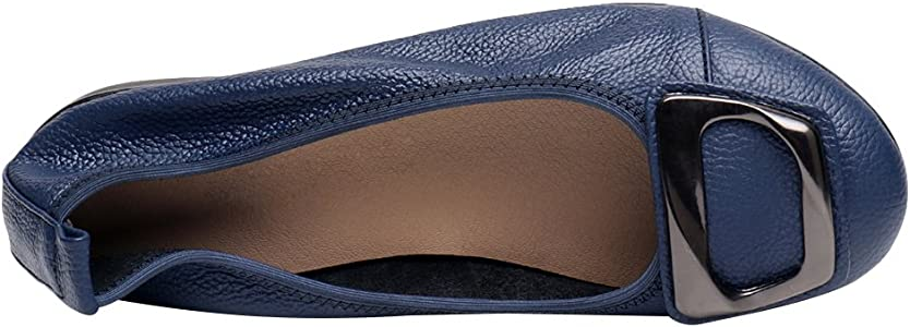 Jamron Mujer Piel Genuina Comodidad Zapatos Suela Blanda Bailarinas Talón de Cuña Baja Pantuflas Azul SN020624 EU35: Amazon.es: Zapatos y complementos