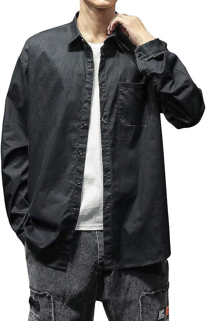 Jennifer Haywood La Mode Casual Homme Chemisette Manches Longues Couleur Unie Chemises Haut de Revers,Automne Slim Chemises Homme