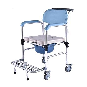 Pasamanos del baño Sillas de Ruedas para Inodoro, sillas con Orinal con Ruedas Taburete Plegable con Asiento de Inodoro móvil de Aluminio: Amazon.es: Hogar