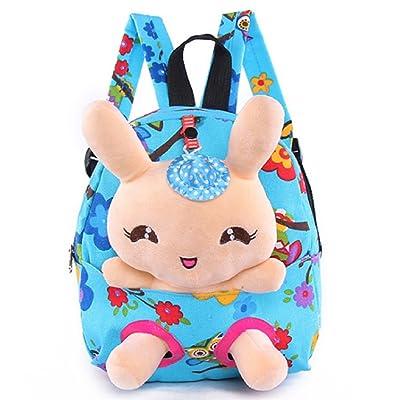 Suerico Rabbit Backpack Cute Kids Toddler Backpack Plush Toy Backpack Snack Travel Bag Pre-School Bags for Girls 1-5Years (Blue) | Kids' Backpacks