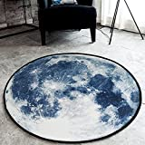 SYROVIA&Trade; Blue Moon Round Area Rug 2′ in Diameter Bedroom Carpet Shaggy Soft Chair Mat Washable Non-Slip Doormat Review