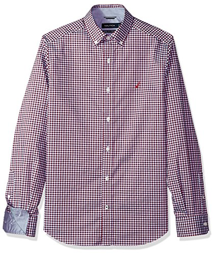 Nautica Men's Ls Wrinkle Resistant Stretch Poplin Plaid Button Down Shirt, Red, X-Large