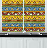 Ambesonne Aztec Kitchen Curtains, Traditional Classic Tribal Style Folk Motif with Sun Figure Ancient Mexican Culture Image, Window Drapes 2 Panel Set for Kitchen Cafe, 55 W X 39 L Inches, Multi