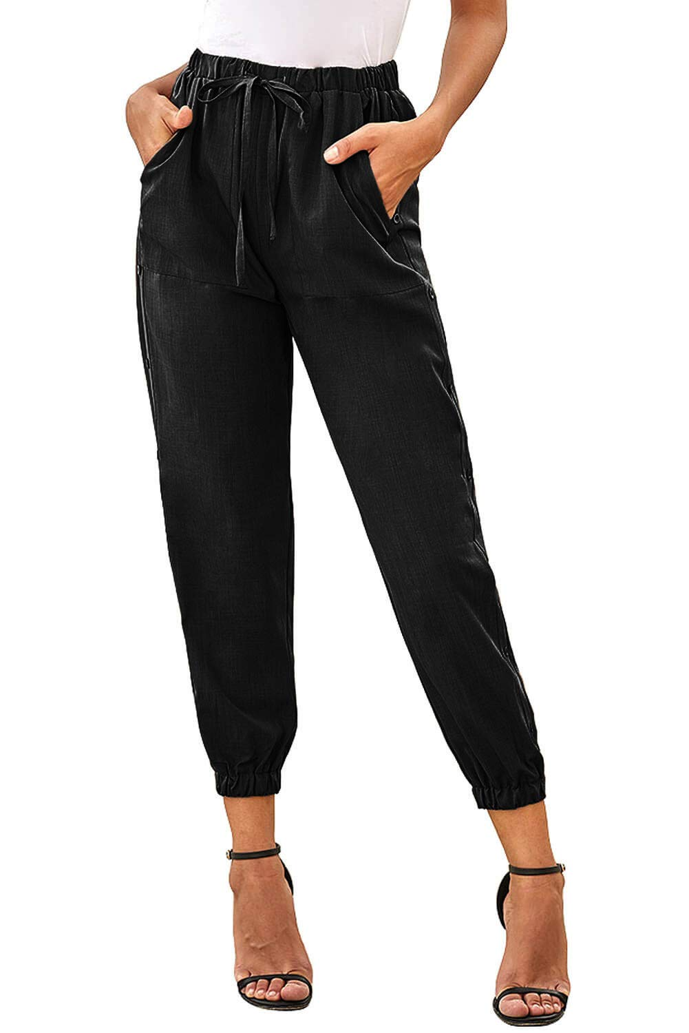 NEWFANGLE Women's Linen Casual Pants Drawstring Elastic Waist with Pockets Solid Comfy Loose Fit Trousers,Black,S