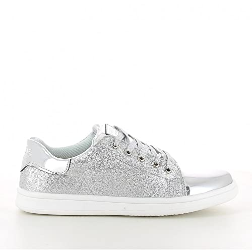 Conguitos Zapatillas de Cordones con Glitter Plateado de Fresas by Gris, 37: Amazon.es: Zapatos y complementos