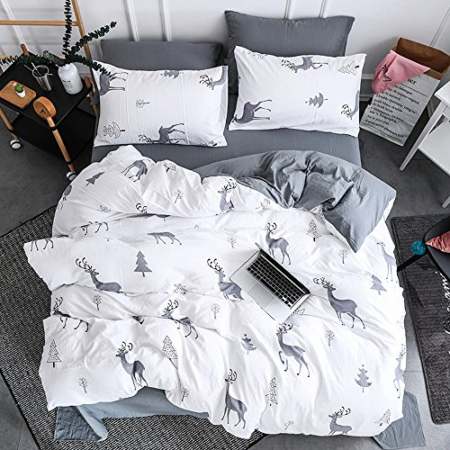 Ludan 3 Pcs white dark grey kids Bedding Sets for Unisex 100% Cotton 800TC 1 Duvet Cover +2 Pillow Cases Included forest deer Twin Full Queen King Size,Without Comforter (Deer, (800tc Pillowcases)