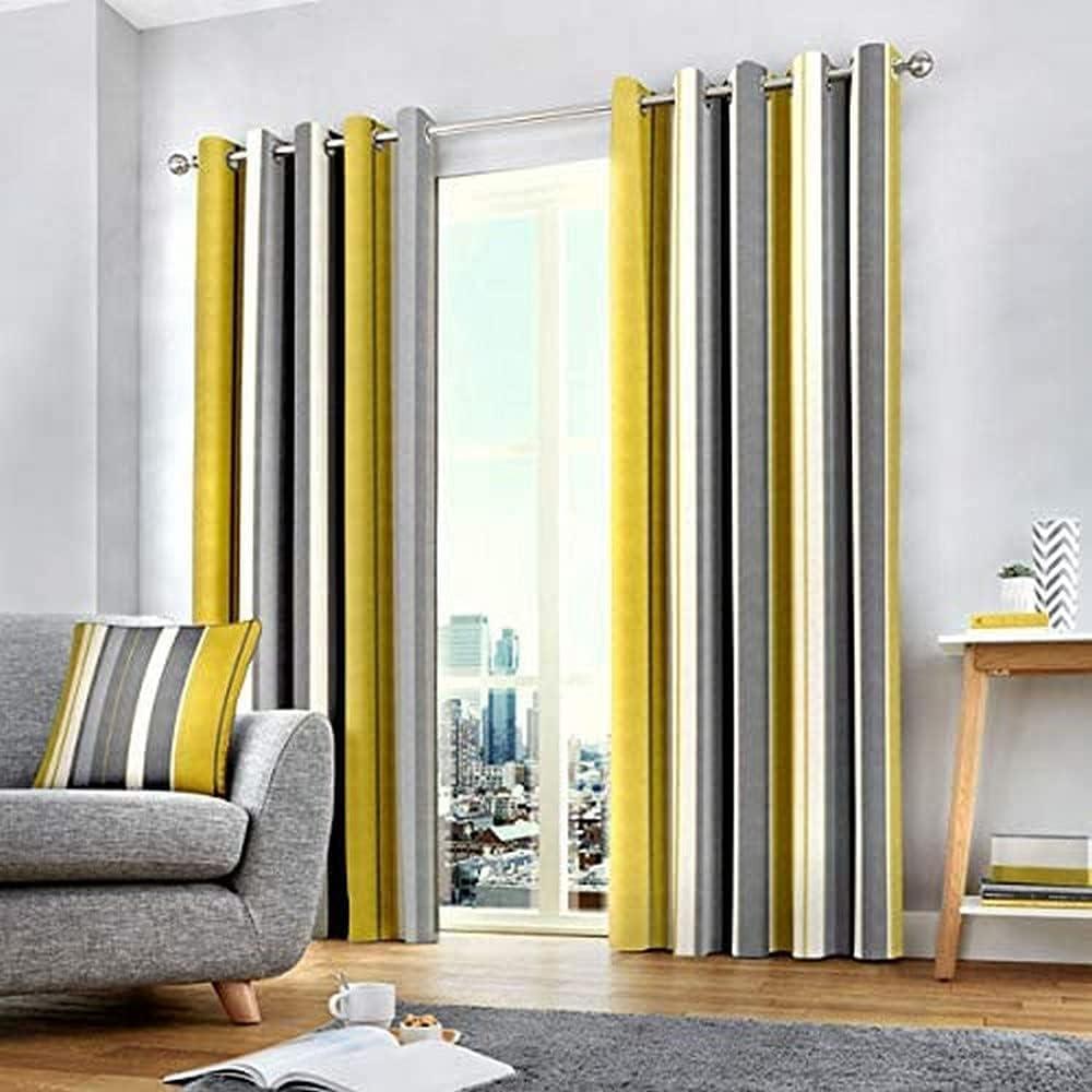 "Fusion - Whitworth Stripe - 100% Cotton Pair of Eyelet Curtains - 66"" Width x 72"" Drop (168 x 183cm) in Ochre Ochre Curtains: 66"" Width x 72"" Drop (168 x 183cm)"