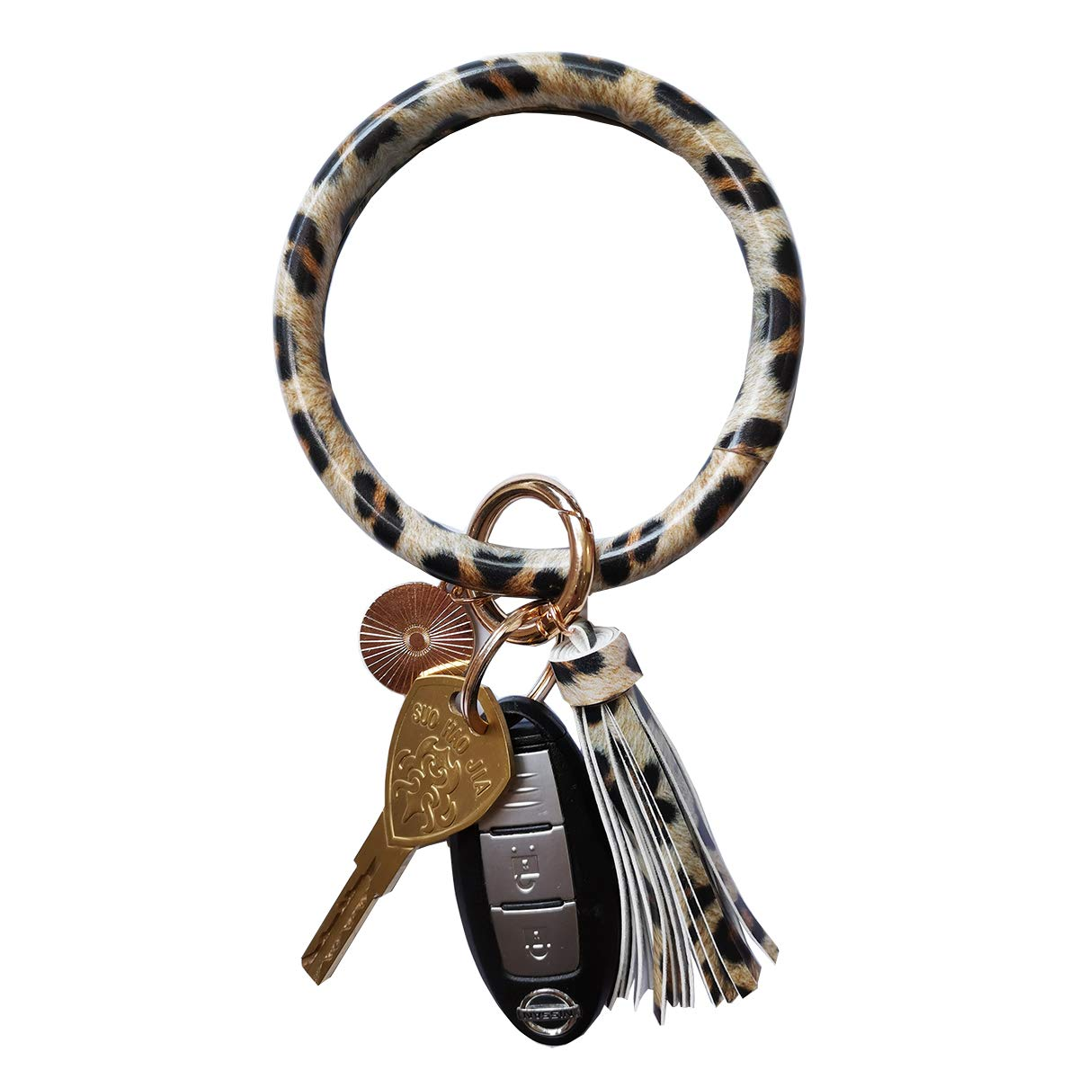 Tovly Wristlet Round Key Ring Chain Leather Oversized Bracelet Bangle Keychain Holder Tassel for Women Girl (Brown Leopard) by Tovly