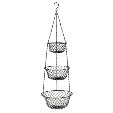 MALMO 3 Tier Wire Hanging Basket (black)