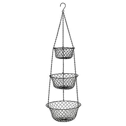 3 Tier Hanging Basket,Storage Fruits Vegetables Organizer For Kitchen  Home,Black