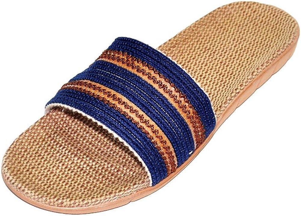 HRFEER Unisex Open-Toe Flax Slipper, Home Slippers, Women Linen Silent Indoor Shoes, Men Beach Sandals Lightweight Breathable