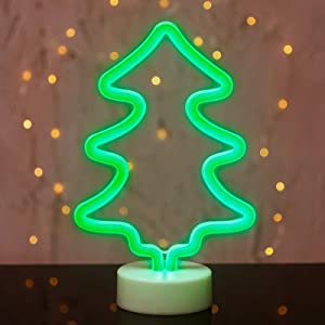 Christmas Tree Neon Lights Xmas Led Neon Lights Merry Christmas Light up Sign Battery Operation Tree Lamp Table Sign Green Neon Signs Room Decor for Bedroom,Wedding,Birthday,Party and Bar