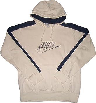 Nike Hoody Kapuzen Sweatshirt Cremeweiß Blau 80% Baumwolle