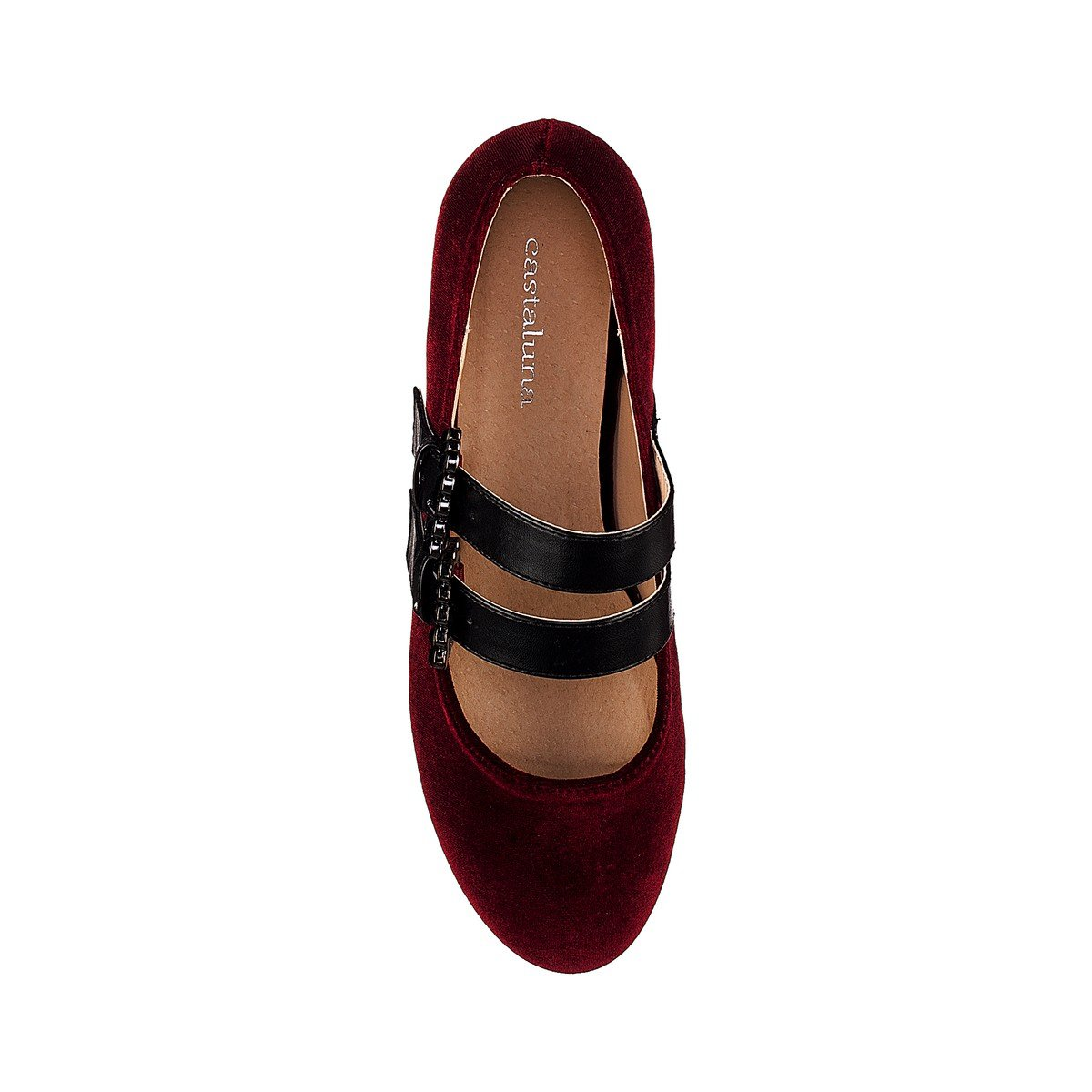 Castaluna Womens Ballet Pumps With Straps And Textile Uppers Wide Fit Sizes 38-45