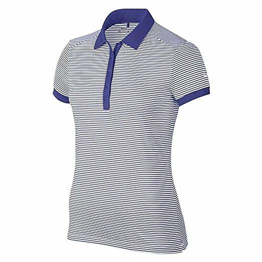 4a2c847599 Amazon.com: Nike Womens Victory Stripe Golf Polo Shirt Blue/White ...
