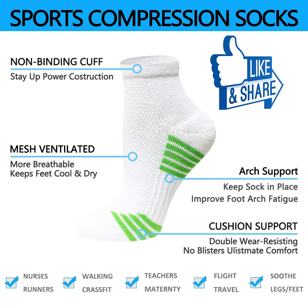 4//7 Pairs ,8-15 mmhg Athletic Sock Arch Support Flight Travel Nurses Compression Socks Plantar Fasciitis for Women Men