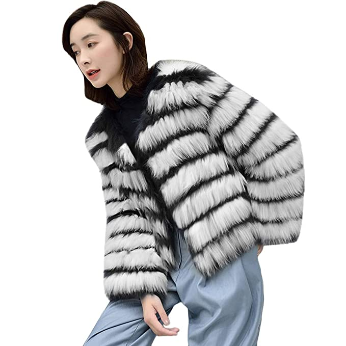 40a322ae18dc Transer- Women's Black and White Stripe Winter Warm Soft Fluffy Faux Fur  Coat Parka Outerwear at Amazon Women's Coats Shop
