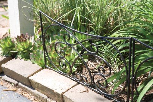 (Panacea Crossing Scrolls Garden Edging Black Steel Panel, 18.25