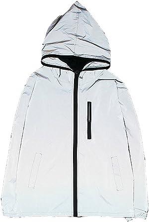 Edgogvl Men's Outwear 3M Reflective Zipper Hooded Windbreaker Lightweight Running Jacket