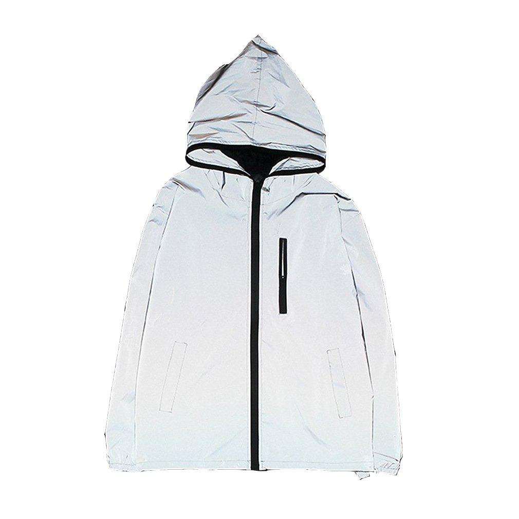 Edgogvl Men's Outwear 3M Reflective Zipper Hooded Windbreaker Lightweight Runing Jacket,Grey,US L(Tag XXL) by Edgogvl