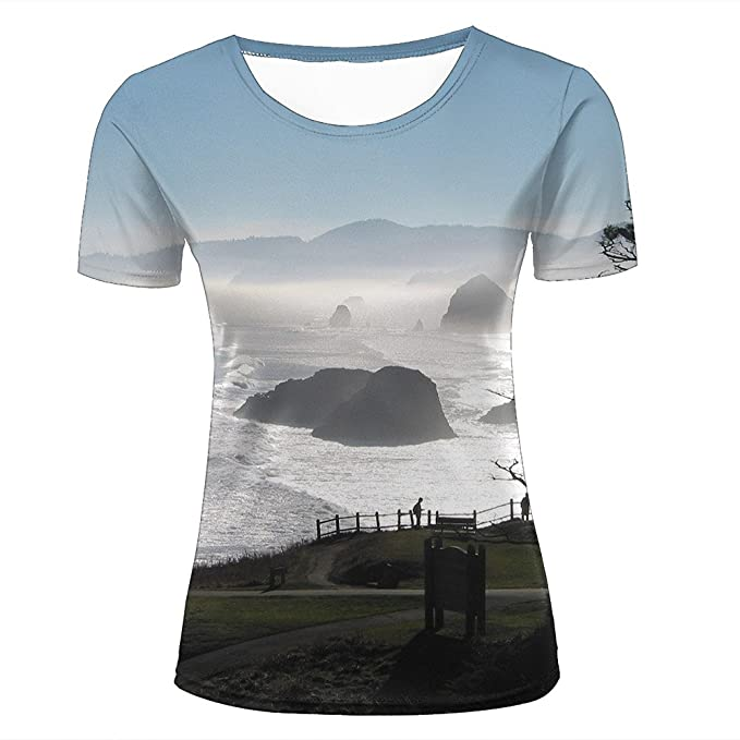f0659ce50 Amazon.com: 3D Creative Printed Mens Womens Beautiful View Of The Coastal  Farm Graphic Casual Couple T Shirts: Clothing