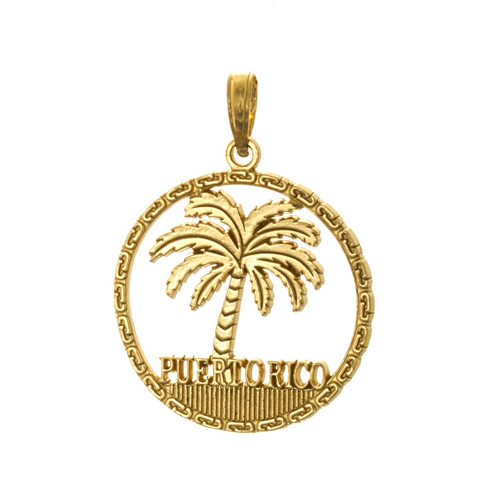14k Yellow Gold Travel Charm Pendant, Puerto Rico Under Palm Tree, Cut-out