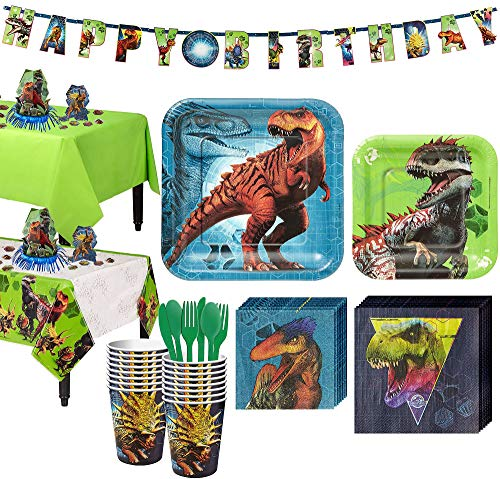 Party City Jurassic World Tableware Kit and Supplies for 16 Guests, with Table Covers, Table Decorating Kit, Banner Kit]()