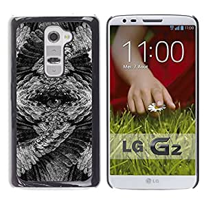 Paccase / SLIM PC / Aliminium Casa Carcasa Funda Case Cover - Eye Owl Mysterious Feathers Art Pencil - LG G2 D800 D802 D802TA D803 VS980 LS980