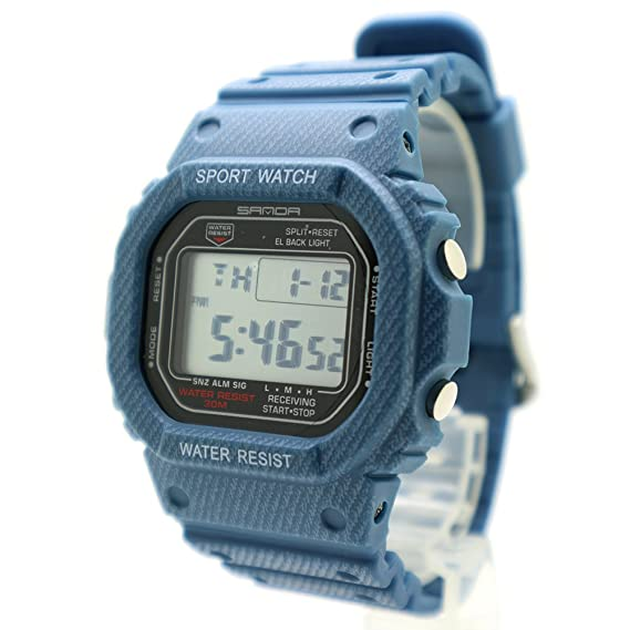samda Unisex Digital LED Deportes reloj digital resistente al agua reloj de pulsera de silicona banda Jeans con alarma Cronómetro Relojes: Amazon.es: ...