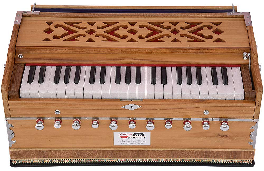 Harmonium Teak Wood By Kaayna Musicals, 11 Stops- 6 Main & 5 Drone, 3½ Octaves, Coupler, Natural Wood Color, Gig Bag, Bass/Male Reed- 440 Hz, Best for Yoga, Bhajan, Kirtan, Shruti, Mantra, etc by Kaayna Musicals (Image #7)