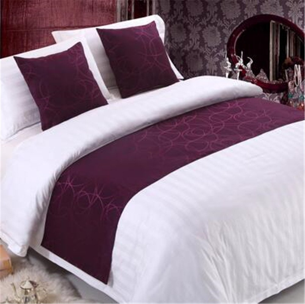 YIH Purple Bed Runner Scarf And Cushion Cover, Hotel Quality Luxury Long Bedroom Decoration, 94 Inches By 19 Inches