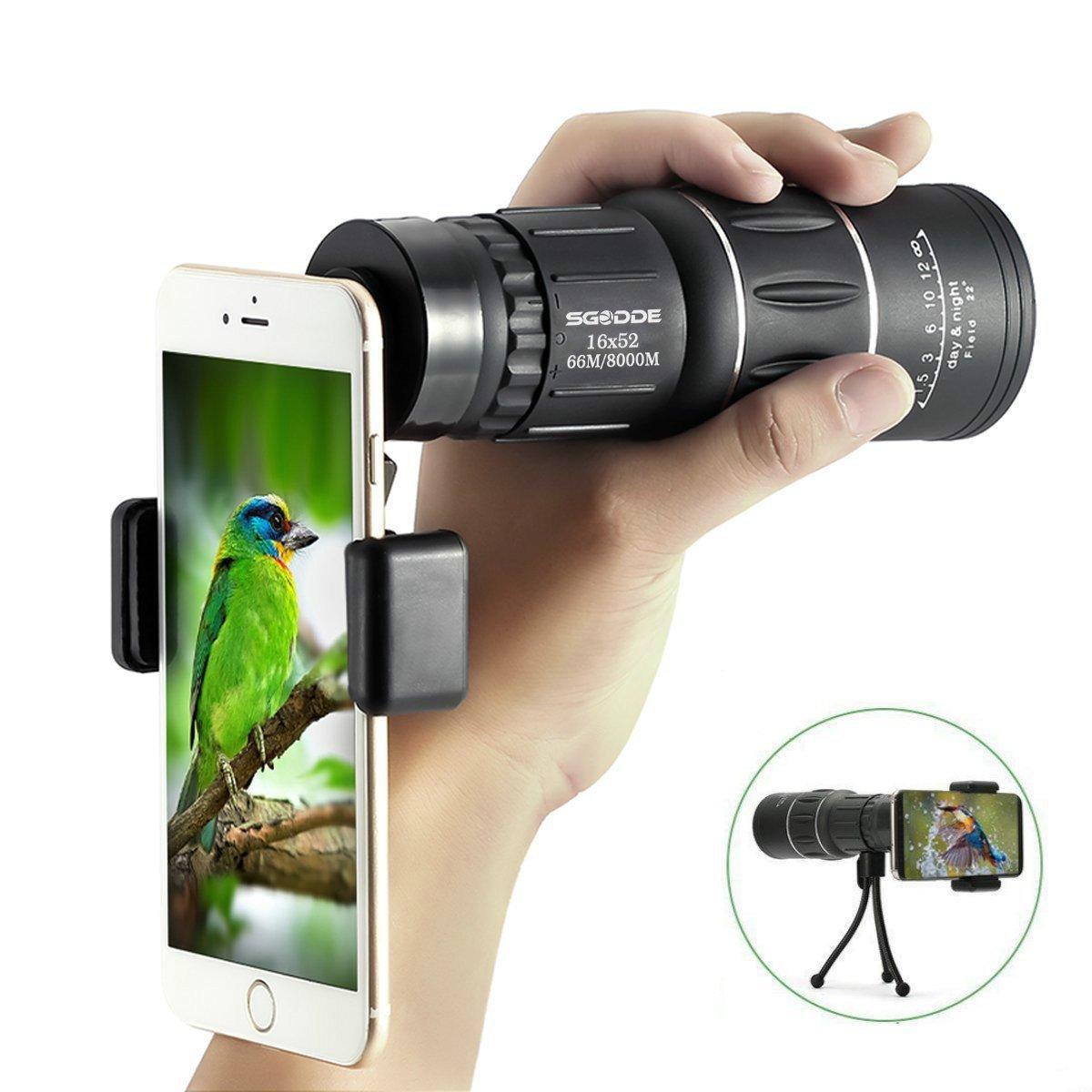 Super Clear 16x52 Monocular Telescope,SGODDE HD Monocular, Dual Focus Optics Zoom Portable Monocular for BirdWatching, Traveling, Outdoors, SightSeeing, sport watching,Climbing(Phone Adapter and Tripod)