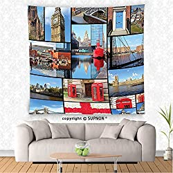 VROSELV custom tapestry Home Decor Tapestry Wall Hanging England Cityscape Red Telephone Booth Clock Tower Bridge on River British Flag with Flowers Bedroom Living Room Dorm Decor Blue Red