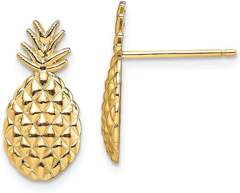 14k Yellow Gold Textured Pineapple Post Stud Earrings Food Drink Fine Jewelry For Women Gifts For Her