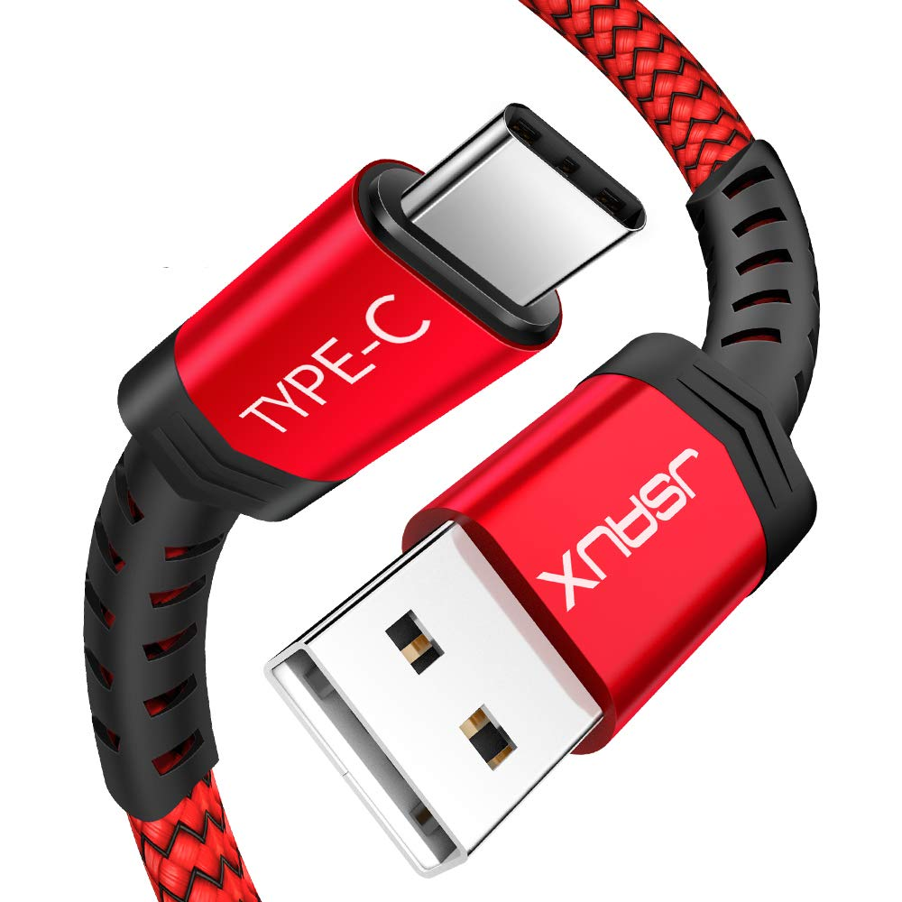 USB Type C Cable, JSAUX(2-Pack 6.6FT) USB A 2.0 to USB-C Fast Charger Nylon Braided USB C Cable Compatible with Samsung Galaxy S9 S8 plus Note 8, Moto Z Z2, LG V30 V20 G5 G6, Google Pixel XL, other USB C devices(Red)