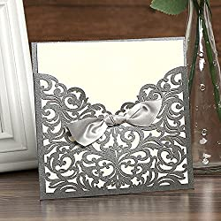 50 PCS Square Laser Cut Wedding Baby Shower Invitations Cards with Ribbon Bows Envelopes Printable Tri Fold Paper (OMK-Square Carbon Soot)