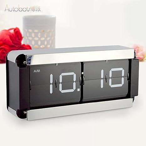 reloj flip grande reloj de mesa sala de estar elegante reloj-flop Bell reloj de la sala de estar Hoja grande reloj gear-A: Amazon.es: Hogar