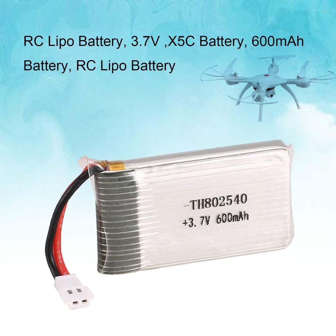 2PCS 3.7V 600mAh Batería de litio para X5C X5SW RC Drone ...