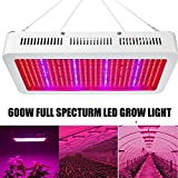 600W LED Grow Light, EnerEco Full Spectrum Plant Light Lamp with UV IR for Hydroponic Plant Veg Flower Greenhouse and Indoor Plant Flowering Growing AC 85-265V