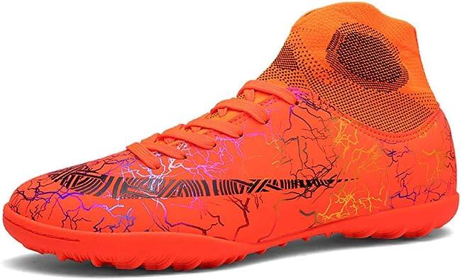 Botas de fútbol para Hombres Botas de fútbol de caña Alta Zapatillas de Entrenamiento de fútbol Antideslizantes para Hombres Naranja_33: Amazon.es: Zapatos y complementos