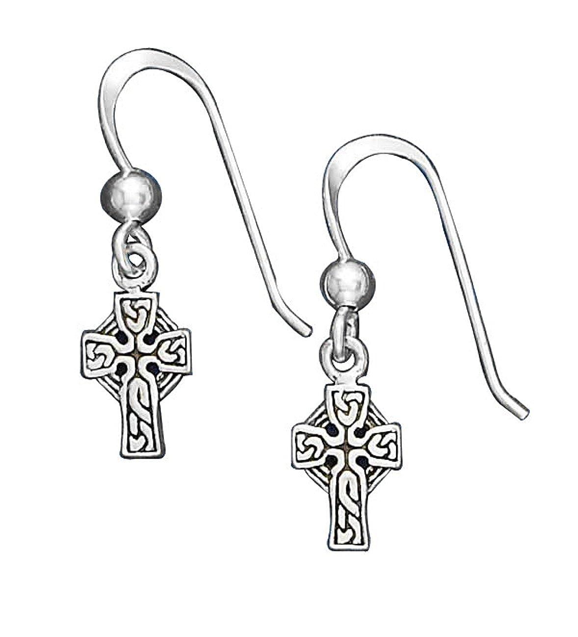 Sterling Silver 1//4 Celtic Cross Bead Drop Dangle Earrings
